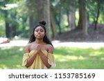 innocent young african american ... | Shutterstock . vector #1153785169