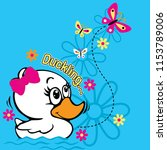cute cartoon duck vector... | Shutterstock .eps vector #1153789006