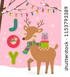 cute reindeer and bird cartoon... | Shutterstock .eps vector #1153793389
