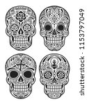 day of the dead skull vector... | Shutterstock .eps vector #1153797049