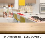 wood table top on kitchen... | Shutterstock . vector #1153809850