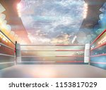 boxing ring with illumination... | Shutterstock . vector #1153817029