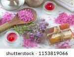 spa accessories for massage in... | Shutterstock . vector #1153819066