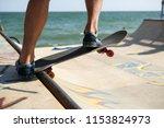 teen skater boy rides on... | Shutterstock . vector #1153824973