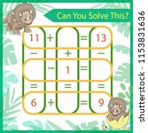 mathematics riddle with cute... | Shutterstock .eps vector #1153831636