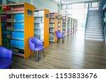 the books on bookshelf and... | Shutterstock . vector #1153833676