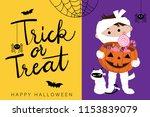 happy halloween greeting card... | Shutterstock .eps vector #1153839079