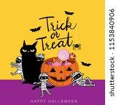 happy halloween greeting card... | Shutterstock .eps vector #1153840906