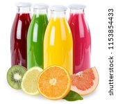 fruit juice fruits in a bottle... | Shutterstock . vector #1153854433