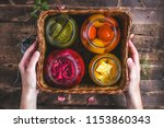 homemade glass jars of pickled... | Shutterstock . vector #1153860343