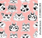 seamless pattern with cute cats ... | Shutterstock .eps vector #1153881283