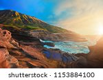 beautiful scene with rocky... | Shutterstock . vector #1153884100