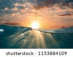 sunset water in tropical sea | Shutterstock . vector #1153884109