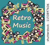 a retro music frame made from... | Shutterstock . vector #1153897636
