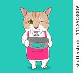 cute cat wearing apron holding... | Shutterstock .eps vector #1153903009