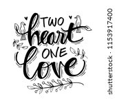 two heart one love lettering | Shutterstock .eps vector #1153917400