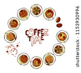 coffee time. coffee cups.... | Shutterstock .eps vector #1153930996