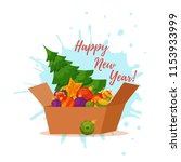 christmas tree decorated vector ... | Shutterstock .eps vector #1153933999