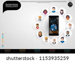 cellphone with community groups ... | Shutterstock .eps vector #1153935259