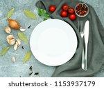 blank flat white plate  fork ...   Shutterstock . vector #1153937179