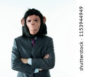 businessman with head of monkey ... | Shutterstock . vector #1153944949