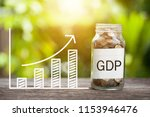 gdp word with coin in glass jar ...   Shutterstock . vector #1153946476
