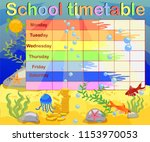 school timetable with marine... | Shutterstock .eps vector #1153970053