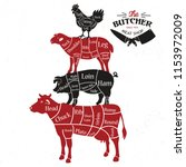 meat cuts. diagrams for butcher ...   Shutterstock .eps vector #1153972009