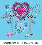 colorful patterned hearts with... | Shutterstock .eps vector #1153979083