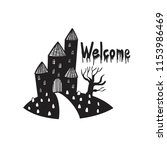 black and white haunted house ...   Shutterstock .eps vector #1153986469