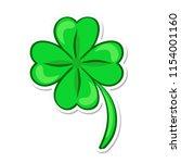four leaf green clover. lucky... | Shutterstock . vector #1154001160