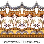 seamless border with paisley ... | Shutterstock .eps vector #1154005969