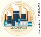nuclear power plant vector... | Shutterstock .eps vector #1154024836