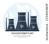 nuclear power plant vector... | Shutterstock .eps vector #1154024839
