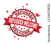 red rubber stamp with refugees... | Shutterstock .eps vector #1154025820