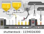 beer bottles on the conveyor... | Shutterstock .eps vector #1154026300