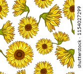 seamless pattern of sunflower.... | Shutterstock .eps vector #1154027299