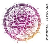 stylish pentagram with goat... | Shutterstock .eps vector #1154027326