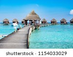 pavilion and resort on the sea... | Shutterstock . vector #1154033029