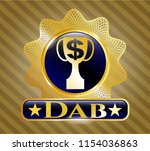 golden badge with trophy with... | Shutterstock .eps vector #1154036863