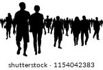 crowd of people walking... | Shutterstock .eps vector #1154042383