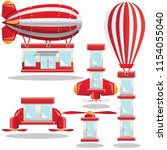 flying houses. isolated on... | Shutterstock . vector #1154055040
