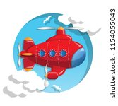 flying submarine. isolated on... | Shutterstock . vector #1154055043