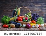 on a rustic wooden table in a... | Shutterstock . vector #1154067889