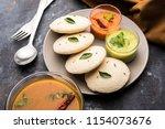 idly sambar or idli with... | Shutterstock . vector #1154073676