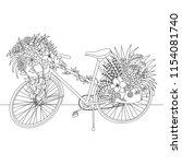 line art of bicycle decorate... | Shutterstock .eps vector #1154081740