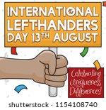brunette left hander... | Shutterstock .eps vector #1154108740