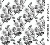 black and white malva pattern | Shutterstock . vector #1154109136