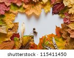 autumn leaves frame with white canvas for copy space - stock photo
