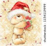 teddy bear in santa hat with... | Shutterstock . vector #1154119999